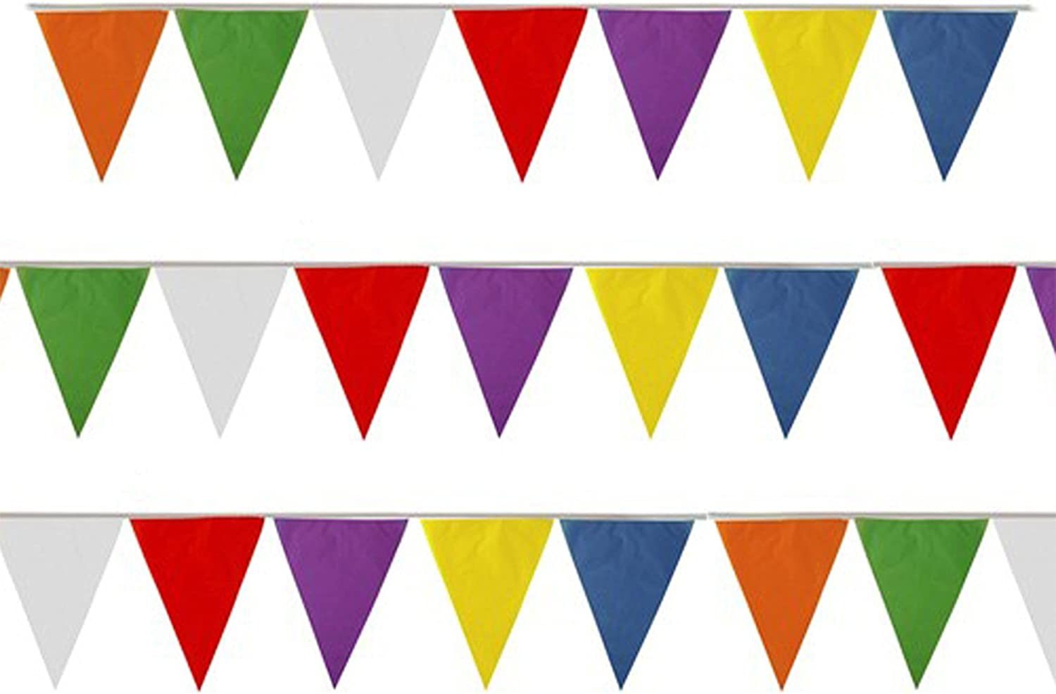 Orange and White Triangle Flag Bunting 54 flags on this 20 metre Long Bunting