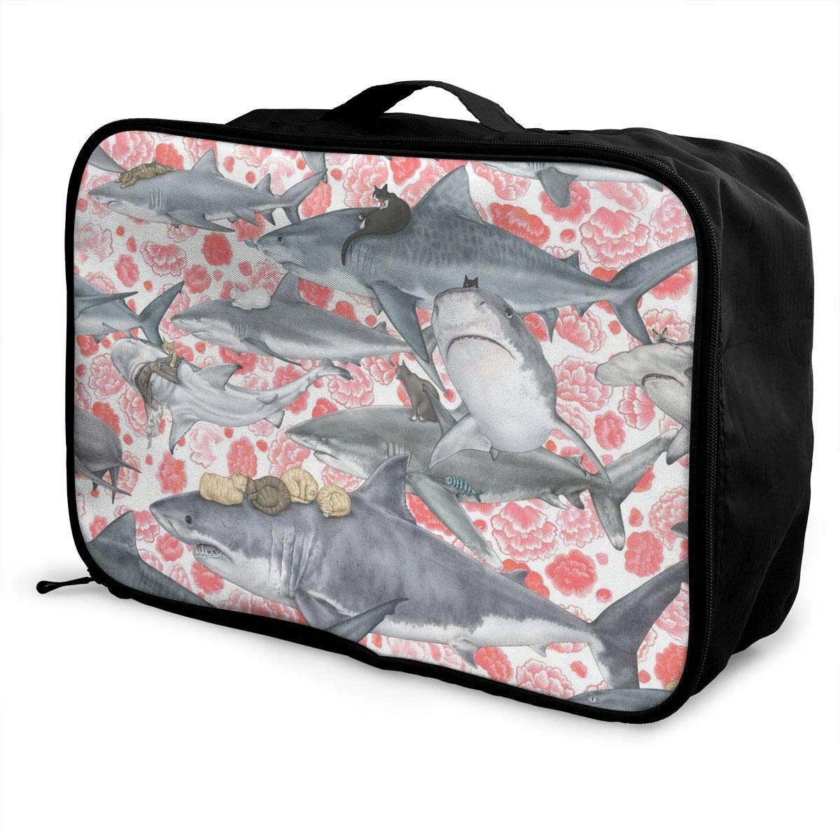 Cats Riding Sharks Pirate Pink Flowers Floral Travel Lightweight Waterproof Foldable Storage Carry Luggage Duffle Tote Bag JTRVW Luggage Bags for Travel