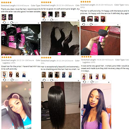 Amazon com : Human Hair Bundles With Closure Brazilian Hair