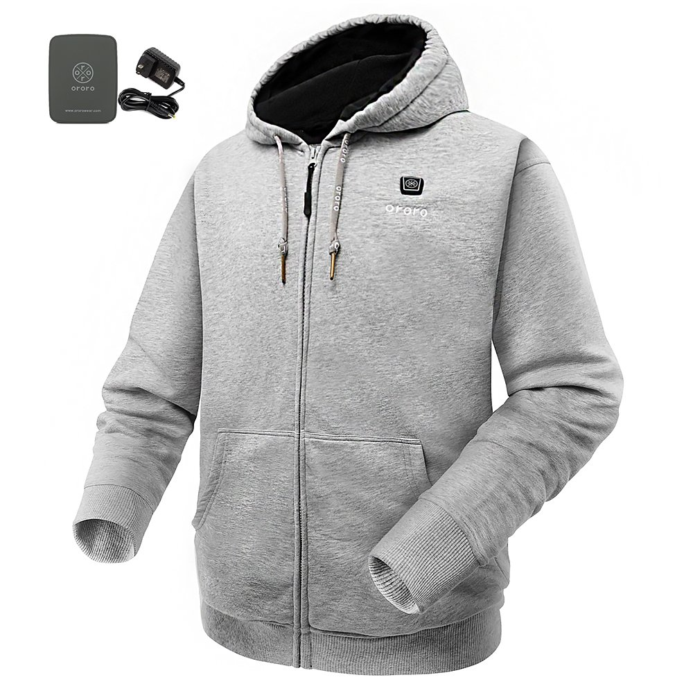 ORORO Cordless Heated Hoodie Kit with Battery Pack(Medium,Light Gray)