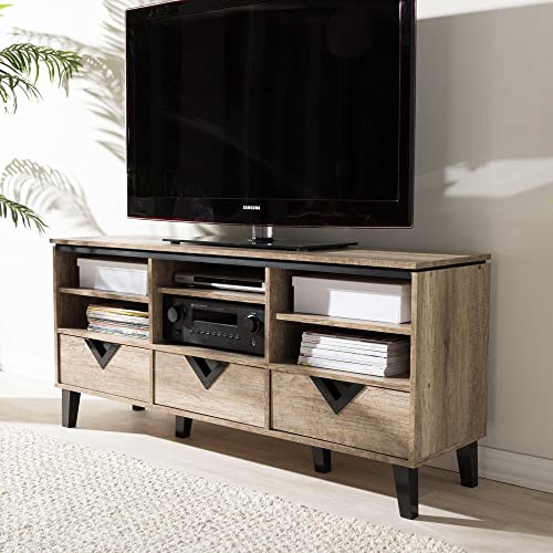 Baxton Studio Wales Modern and Contemporary Tv Stand Light Brown/55/Contemporary