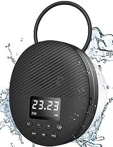 Altavoz de Ducha Resistente al Agua, Altavoz Bluetooth Impermeable AGPTEK, Radio de Ducha con Bluetooth 5.0, Pantalla LED, Ventosa, Tarjeta TF de Soporte, MIC Incorporado, para Baño, Ducha, Playa, Exterior, Interior