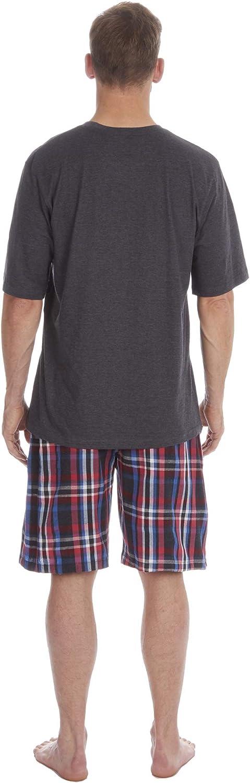 Insignia Pigiama da Uomo Set Top T-Shirt Manica Corta /& Pantaloncini Lavorati a Mano Pantaloni