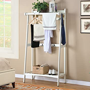 Kleiderständer Massivholz Schuhschrank Schlafzimmer Wohnzimmer  Kleiderständer (Farbe : Weiß)