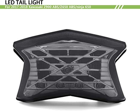 Green BSK Z Symbol LED Tail Light Turn Signal Lamp for 2017-2018 Kawasaki Ninja 650 650R Z650 Z900 ABS