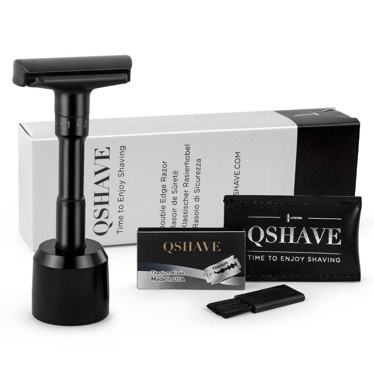 QSHAVE Adjustable Double Edge Safety Shaving Razor Deluxe Set (Razor with Stand)