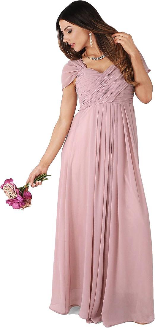 KRISP Damen Abendmode Lange Ballkleider mit Geschlossenem Ausschnitt