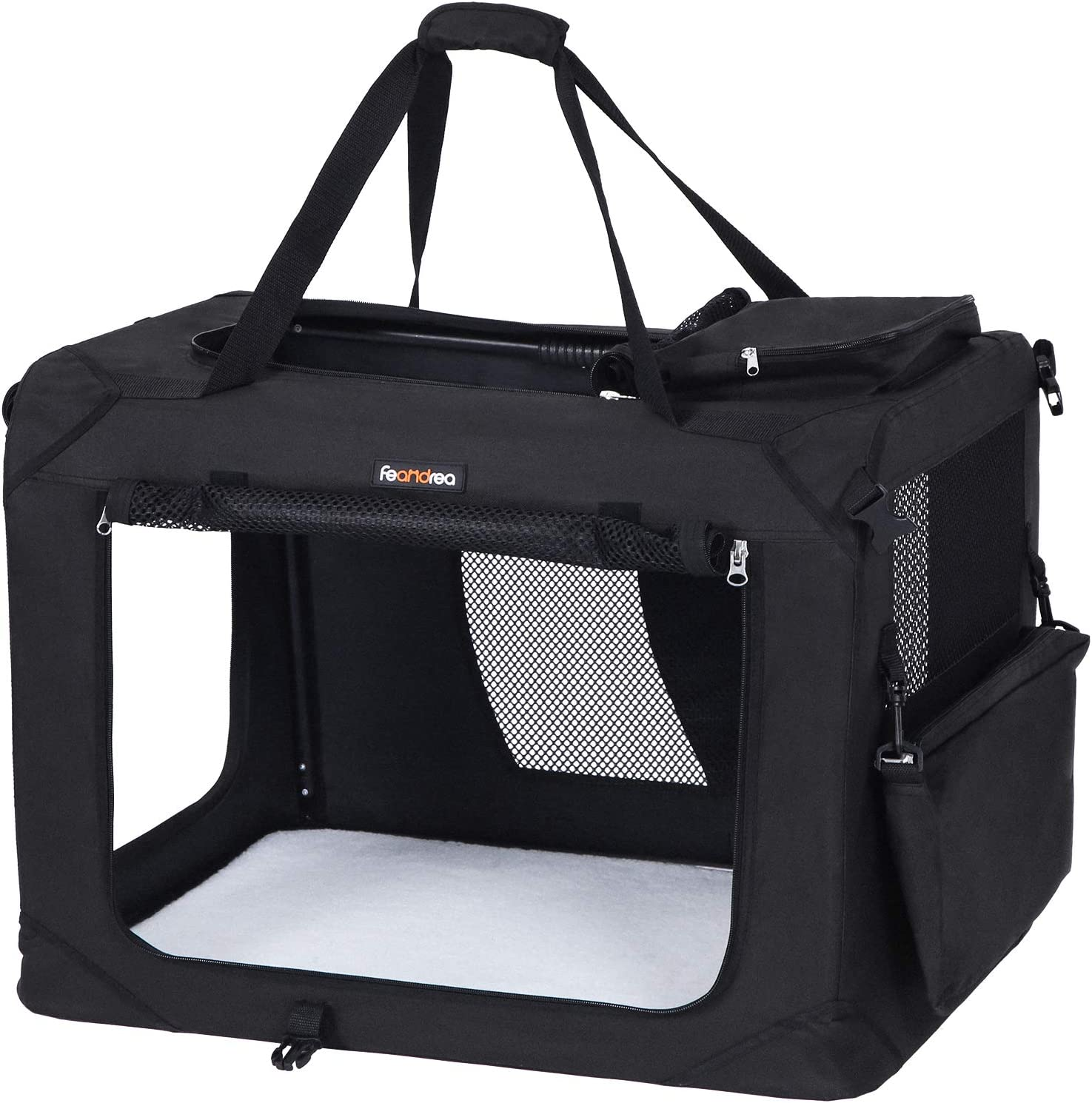 FEANDREA Bolsa de Transporte para Mascotas Transportín Plegable para Perro Portador Tela Oxford Negro L 70 x 52 x 52 cm PDC70H