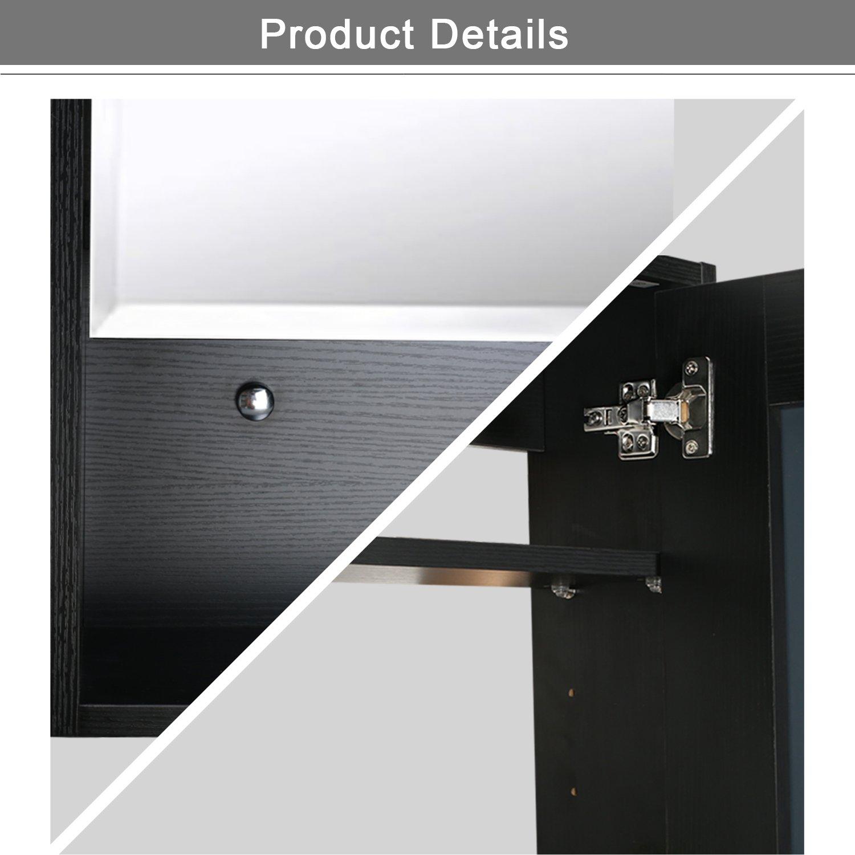 Eclife 22'' x 28'' Large Storage Bathroom Medicine Cabinet Organizer Mirror Storage Wood Adjustable Wall Mounted Mirror Cabinet Black C01 by Eclife (Image #6)