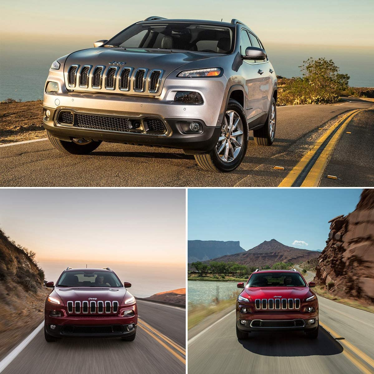 Gloss Front Grille Grill Inserts Covers Gloss 7pcs for 2014-2018 Jeep Cherokee Black