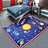 """HEBE Kids Area Rug Solar System 40""""x51"""" Educational Learning Play Carpet Non Skid Washable Nursery Children Area Rug for Playroom (Solar System)"""