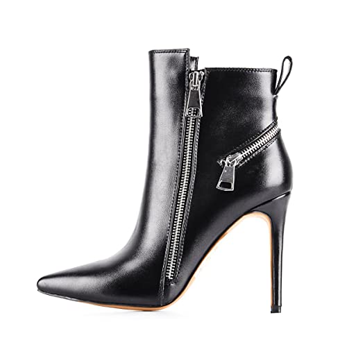 Black Pointede Toe Ankle Boots Side Zipper 4.7 inches Stiletto High Heels for Women
