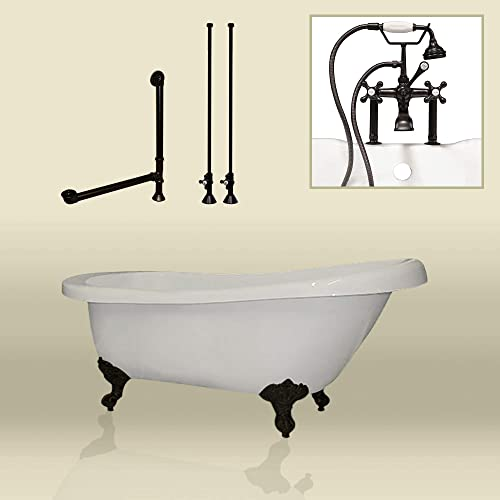 67 Acrylic Slipper Clawfoot Tub Oil Rubbed Bronze Complete Deck Mount Plumbing Package- Miller