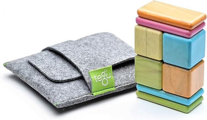 8 Piece Tegu Pocket Pouch Magnetic Wooden Block Set, Tints | Amazon