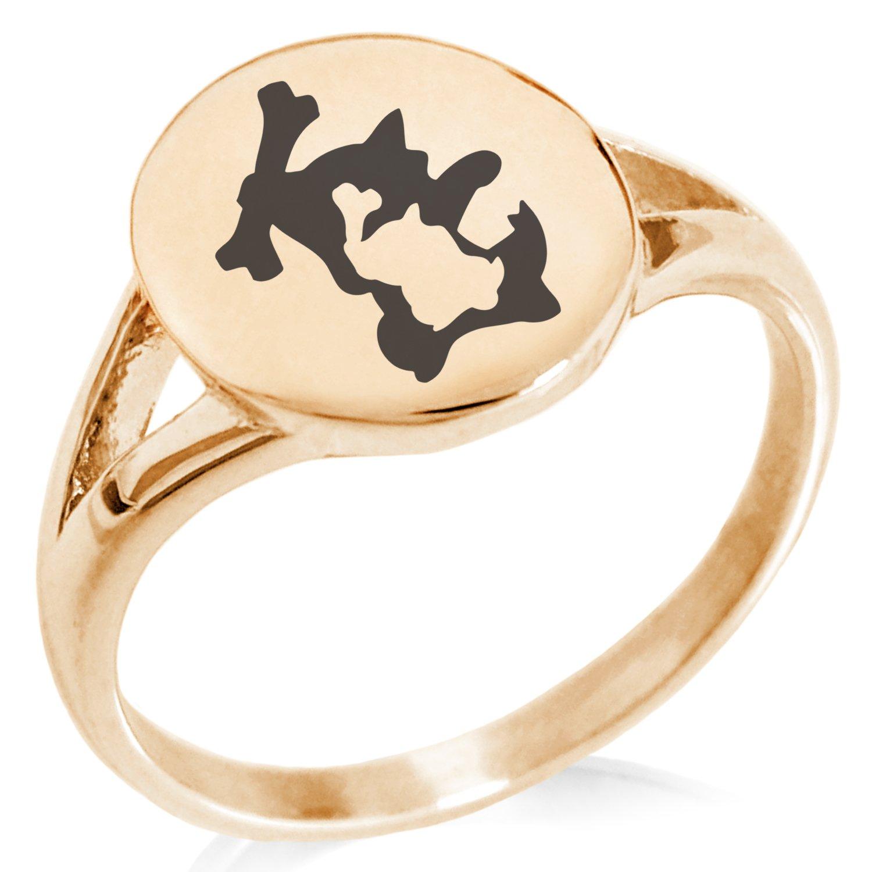Tioneer Rose Gold Plated Stainless Steel 1st Gen Cubone Marowak Pokemon Minimalist Oval Top Polished Statement Ring, Size 8