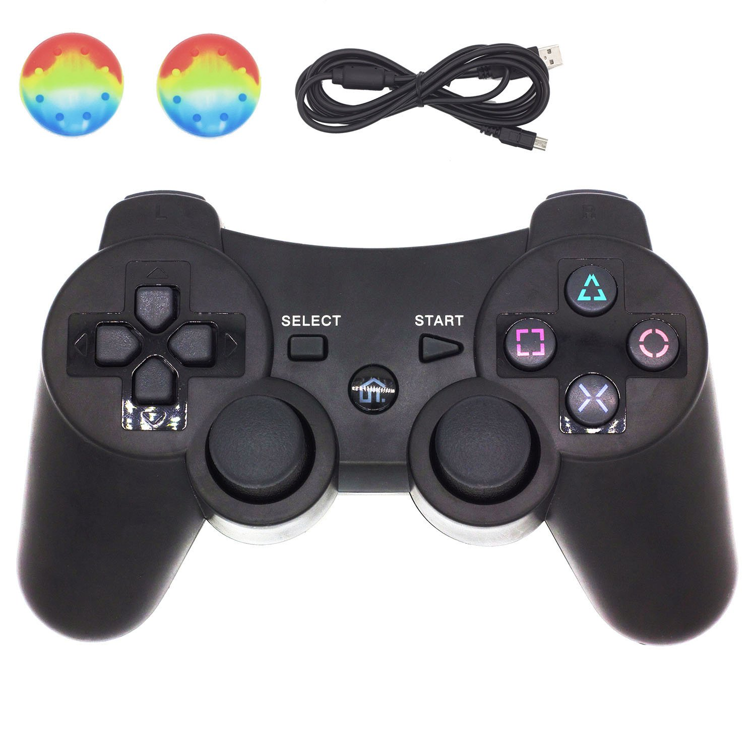 PS3 Controller, BRHE Wireless Bluetooth Dualshock 3 Gamepad PS3 Games Remote Control Sixaxis Vibration Joystick for Sony Original Playstation 3 with USB Charger Cable New Upgrade Version (Black)