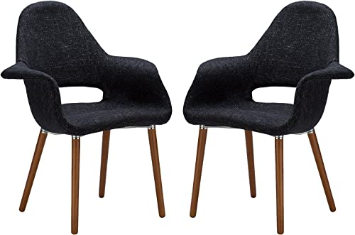Poly and Bark Barclay Upholstered Fabric Modern Dining Arm Chair with Wooden Legs, Black Set of 2