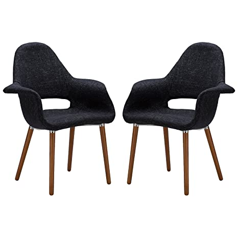 Marvelous Poly And Bark Barclay Upholstered Fabric Modern Dining Arm Chair With Wooden Legs Black Set Of 2 Uwap Interior Chair Design Uwaporg