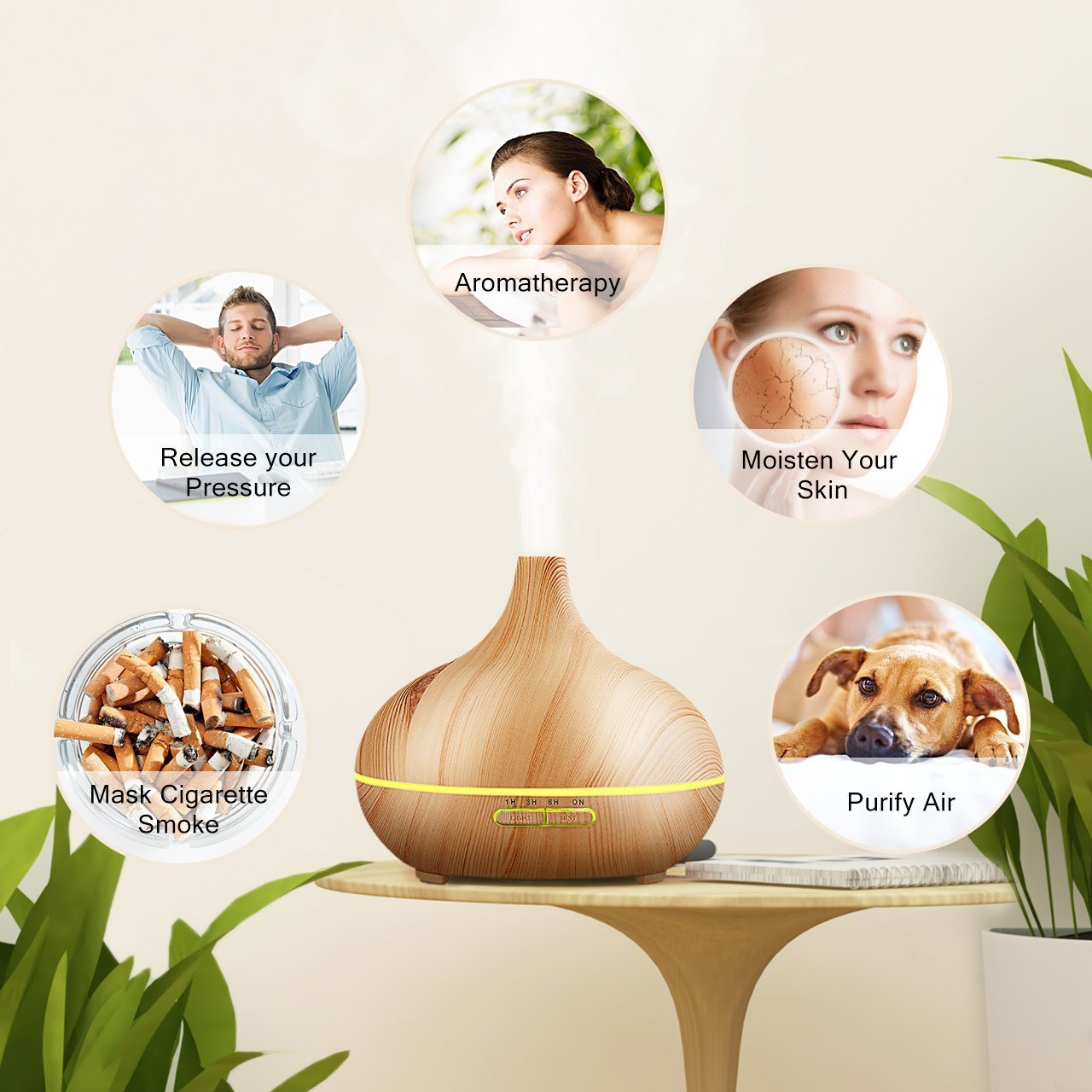 300ml cold fog humidifier ultrasonic aromatherapy essential oil disperser, wood grain 6 timing7 color LED automatic induction, no water closed function, office, home, living room, study, yoga, spa by Top-Fans (Image #5)