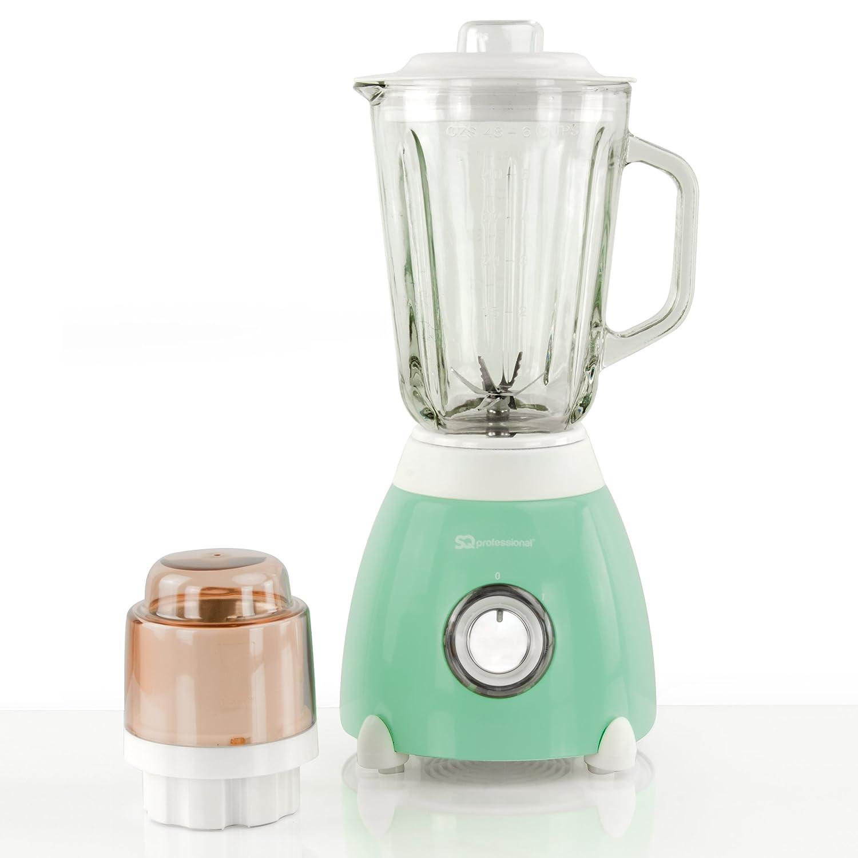 Batidora de vaso 500W, jarra y molinillo de medición de vidrio de 1.5L - Verde: Amazon.es: Hogar
