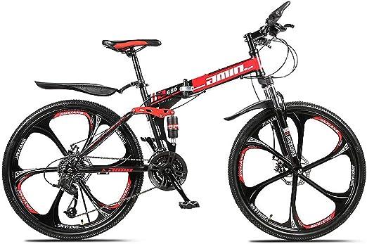 PXQ Adultos Bicicleta de montaña 21/24/27/30 velocidades Plegable ...
