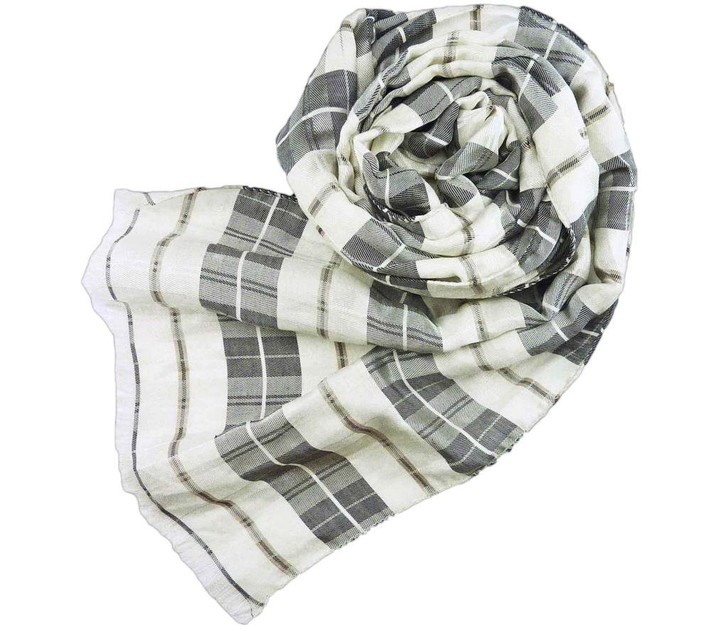 Stanley Lewis Men's Highland Check Scarf Charcoal