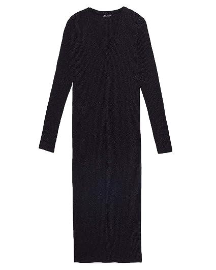 b33f2e03adf Zara Women's Ribbed Dress 1463/001 (Medium) Grey: Amazon.co.uk: Clothing