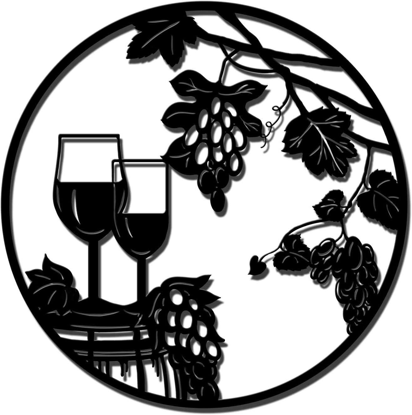 Rustic Wall Decor Metal Wine Grapes Wall Sculpture Black Modern Artwork for Chateau Farmhouse Kitchen Home Decorations Easy to Hang on