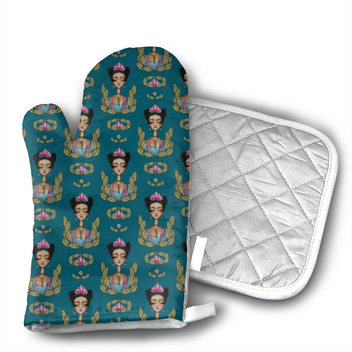 Wiqo9 Frida Kahlo Pattern Oven Mitts and Pot Holders Kitchen Mitten Cooking Gloves,Cooking, Baking, BBQ.