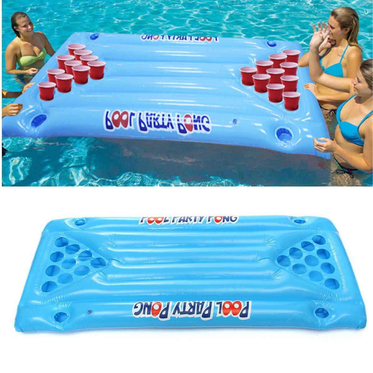 YMWLKE Aufblasbares Pool-Bier-Tabellen-Schalen-Halter, PVC-aufblasbares Bier Pong-Ball-Tabellen-Wasser-Sich hin- und herbewegendes Floss-Aufenthaltsraum-Pool-trinkendes Spiel 24 Schalen-Halter by