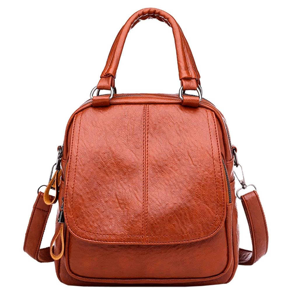 VIASA Vintage Girl Leather School Bag FashionLeisure Backpack Satchel Student Travel Shoulder Bag (Brown)