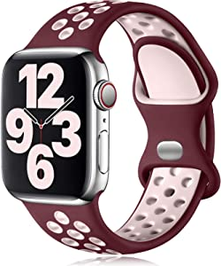 Vcegari Band Compatible with Apple Watch 38mm 40mm Women Men, Breathable Skin Silicone Strap for iWatch SE Series 6 5 4 3 2 1, Wine/Pink S/M
