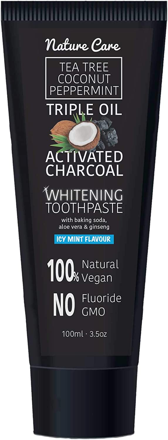 Nature Care 100ml Organic Coconut Peppermint Tea Tree Oil Activated Charcoal Toothpaste Whitening Gel | Vegan, No Fluoride, No GMO, No SLS (Single)