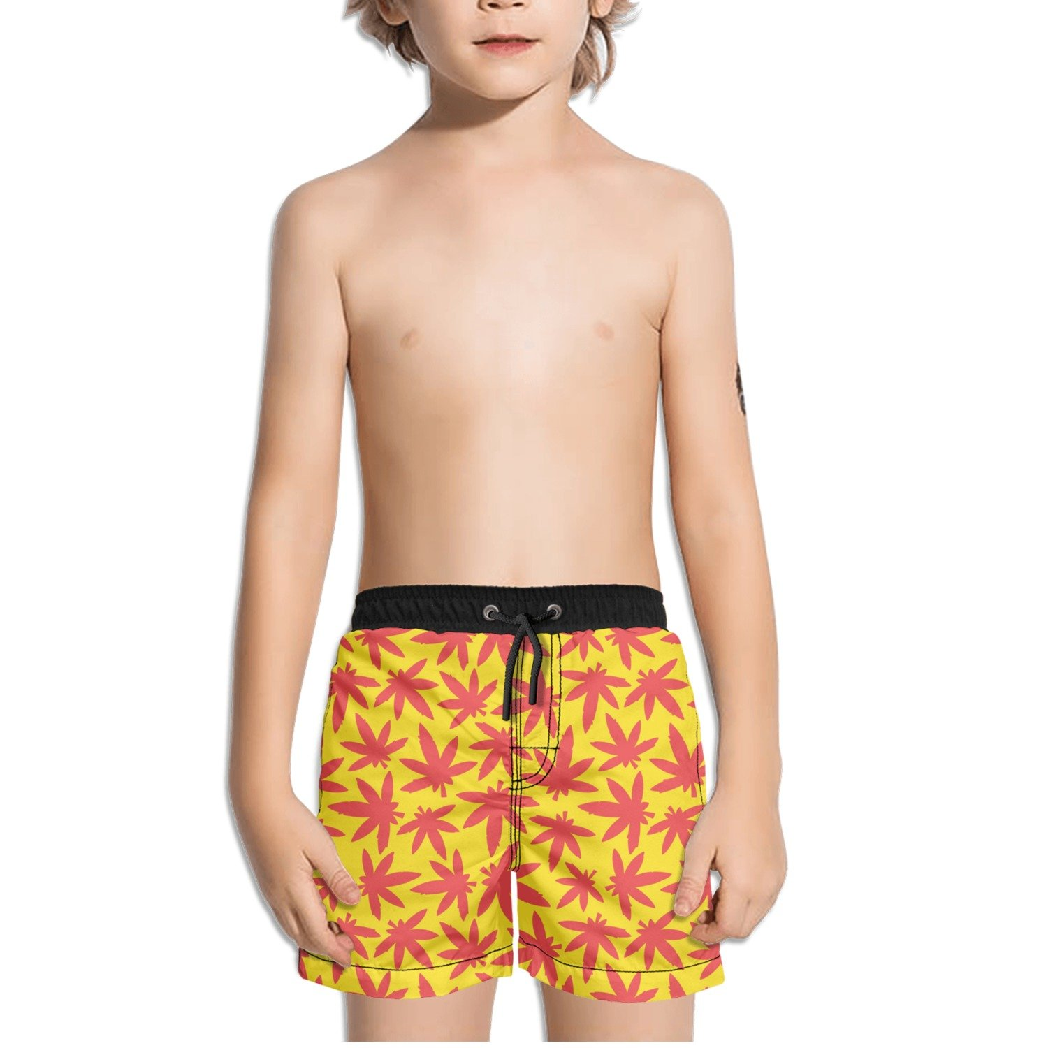 Ouxioaz Boys Swim Trunk Marijuana Smoking Leaves Beach Board Shorts