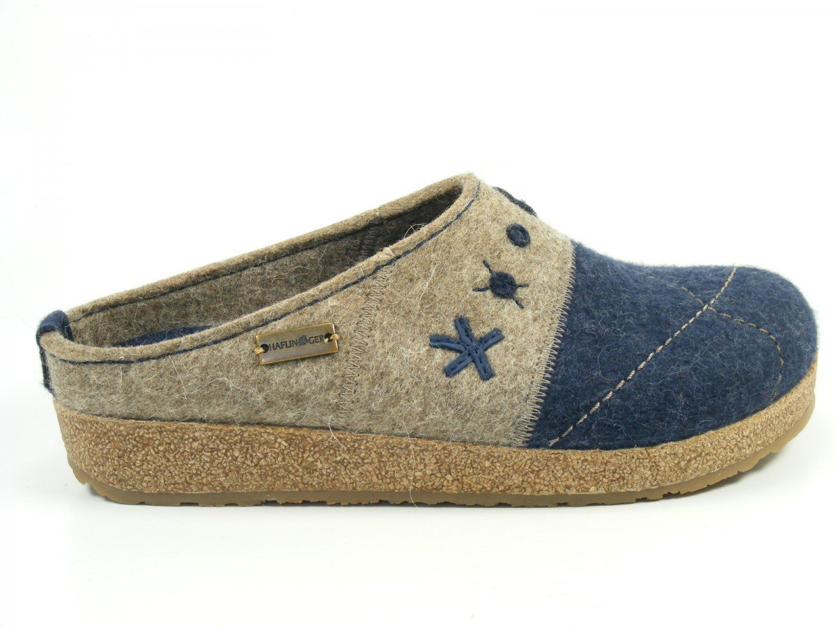Haflinger Schuhe Damen Hausschuhe Pantoffeln Wolle Grizzly Tristan 731040, Schuhgröße:39;Farbe:Grau