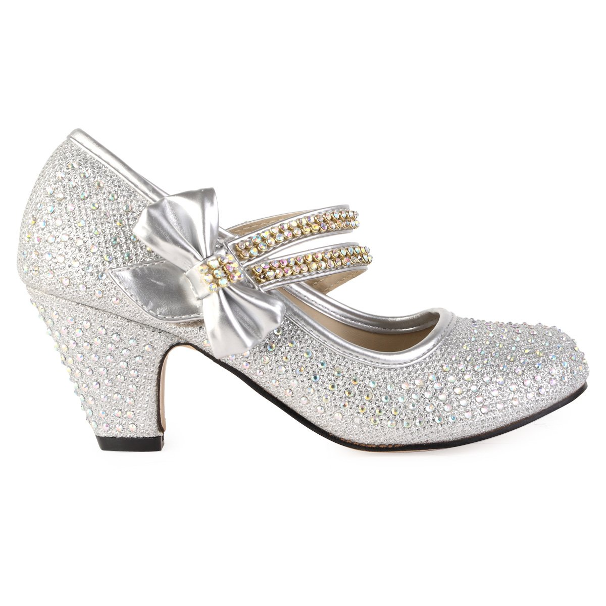 90O Girls Silver Diamante Strappy Kids Block Heel Mary Jane Style Court Shoes Size 1