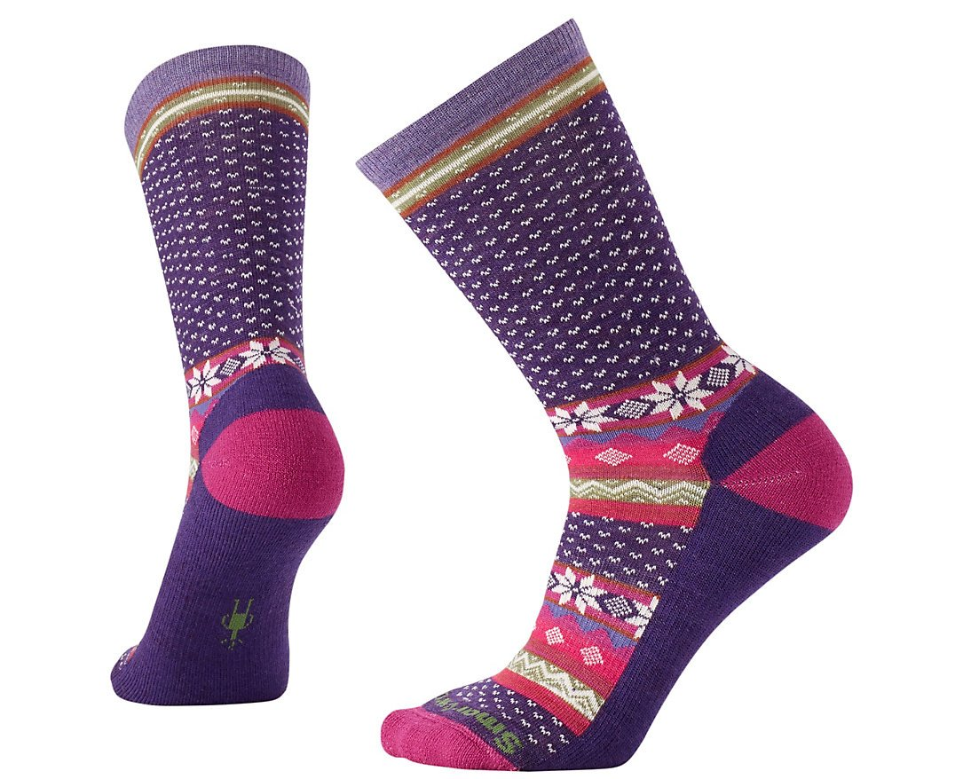 SmartWool Women's Cozy Cabin Crew Socks (Mountain Purple Heather) Large