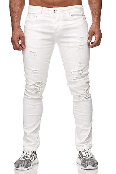 comprare popolare 37d30 46006 Pantaloni Uomo Jeans Slim Fit Tubo Biker Skinny Distrutto Bianco H2341