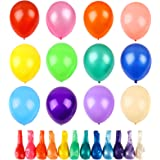 RUBFAC 120 Assorted Color Balloons 12 Inches 12 Kinds of Rainbow Party Latex Balloons, Latex Balloons for Party Decoration, B