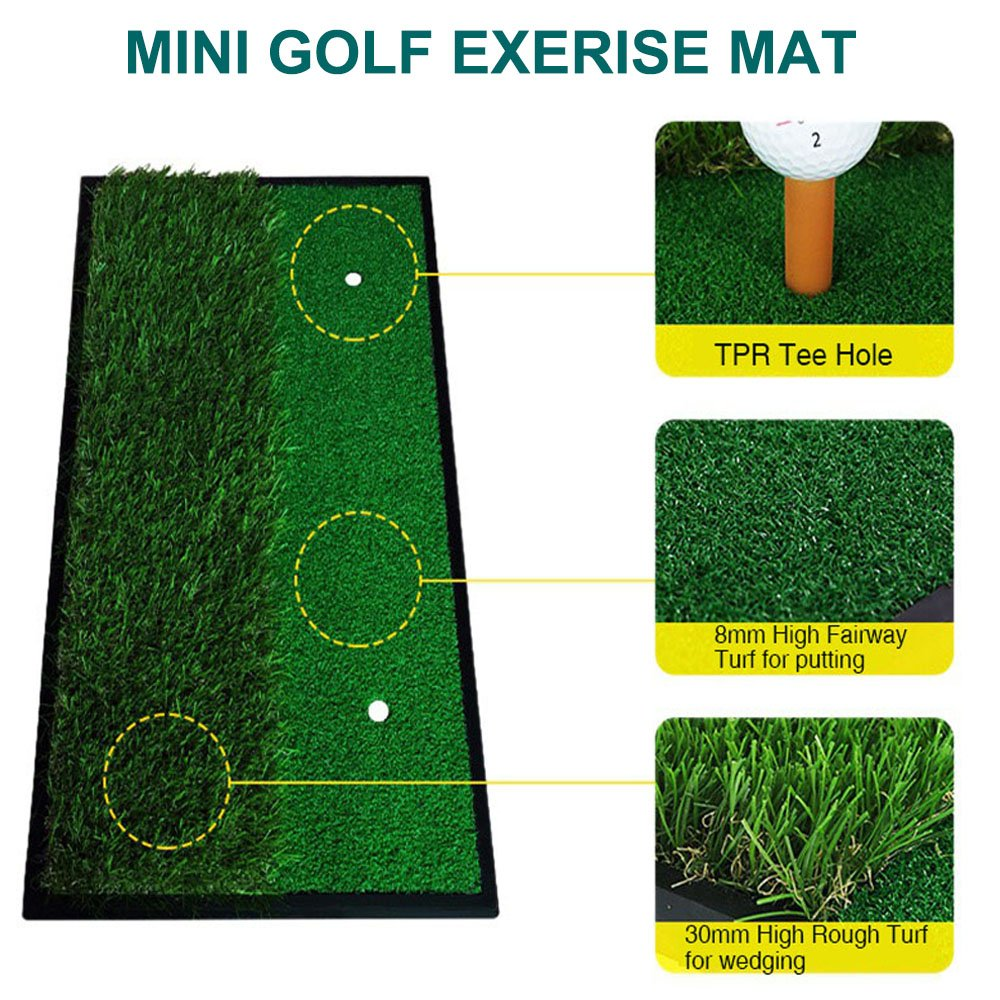 Foxcesd Golf Mat, Golf Hitting Mat with Realistic Fairway & Rough Portable Golf Practice/Training Turf Mat Mini Golf Green Grass Putting Mats for Indoor and Outdoor Golf Sports 12'' x 24'' by Foxcesd (Image #2)