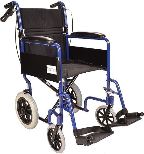 Ligera silla de ruedas de tránsito plegable con frenos de mano ...