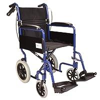 Lightweight aluminium folding transit travel wheelchair with handbrakes - Weighs only 11kg ECTR01