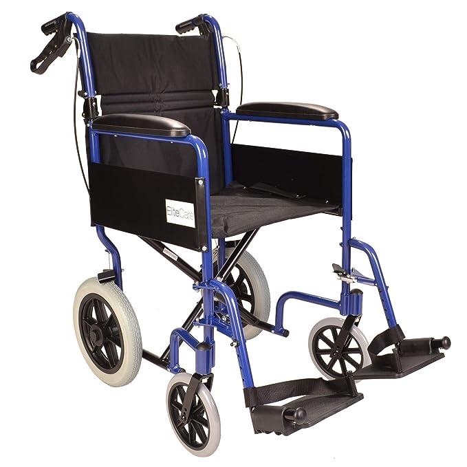 Ligera silla de ruedas de tránsito plegable con frenos de mano ECTR01: Amazon.es: Salud y cuidado personal