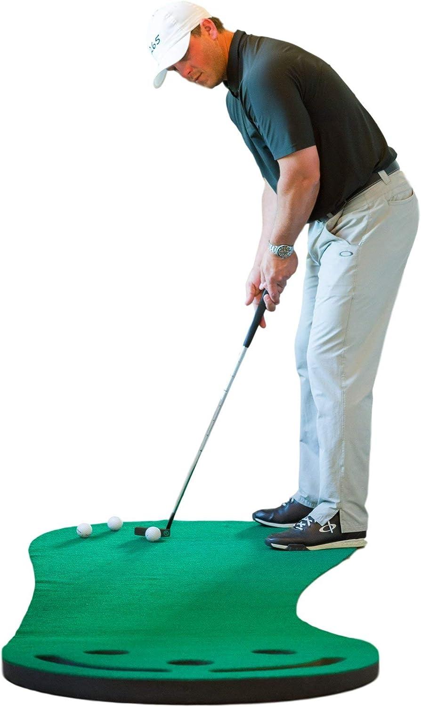 Shaun Webb Tapis de golf Vert et intérieur 2,7 x 0,9 m (conçu par PGA Pro & Golf Digest's Top Teacher) Envers haut de gamme, sans plis, trous plus profonds, surface plus épaisse et plus large – Idéal pour la maison ou le bureau.