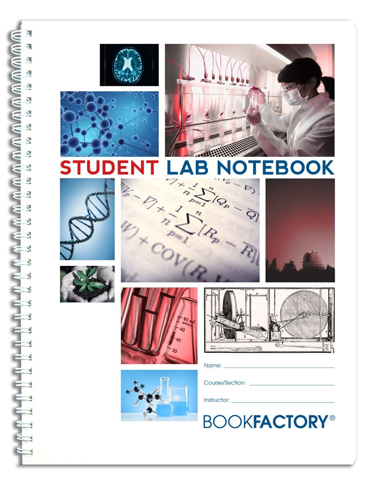 """BookFactory Student Lab Notebook / Laboratory Notebook - 100 Pages (8.5'' X 11'') - Scientific Grid Pages, Durable Translucent Cover, Wire-O Binding - Page Size: 8 ½"""" x 11"""" (LAB-100-7GW (Student))"""