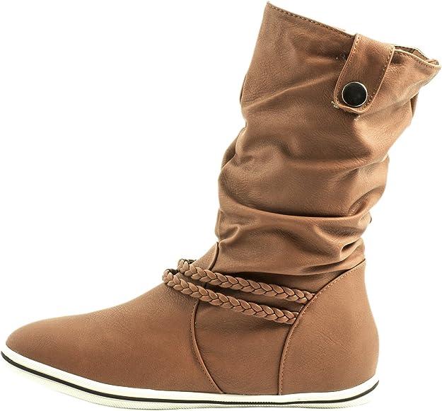 36-41 Schuhe Bequeme Damen Stiefel Flache Schlupfstiefel 70991 Boots Gr