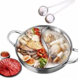 MineDecor Shabu Shabu Hot Pot Stainless Steel Pot with Divider for Electric Induction Cooktop Gas Stove, 32 CM 15 OZ Yuanyang Pots, Include 2 Pot Spoons