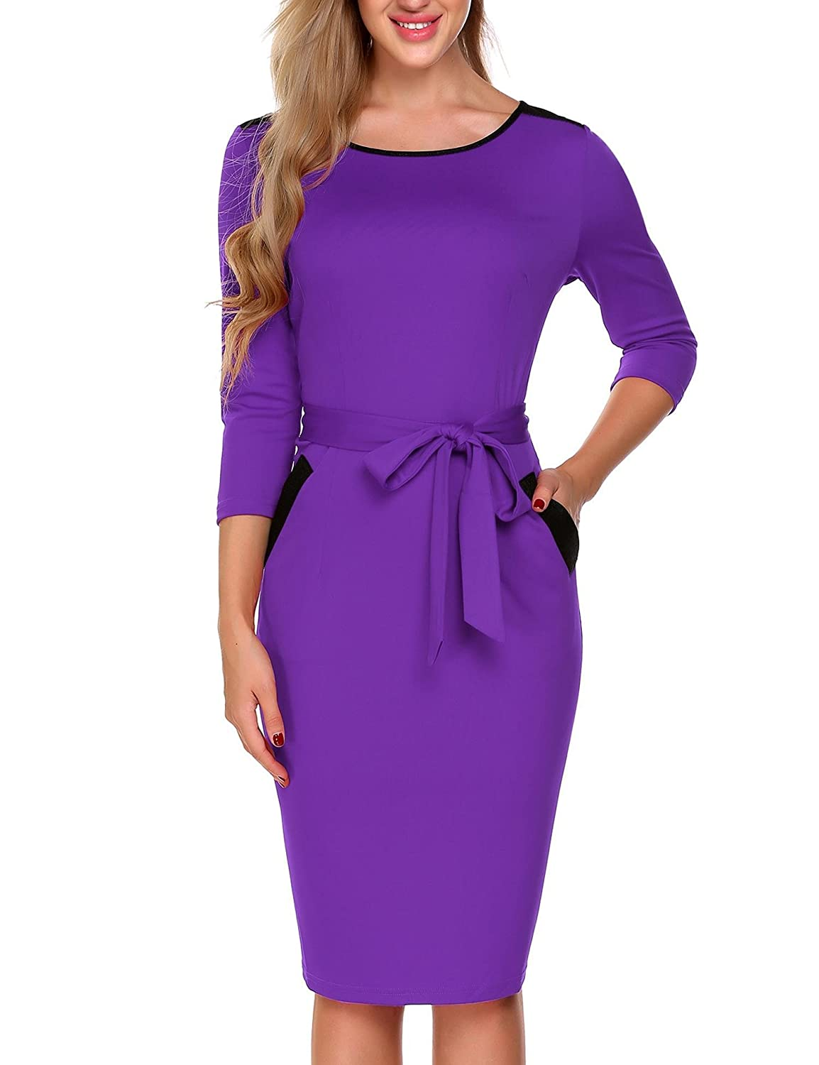 Burlady Women's Crew Neck 3/4 Sleeve Belt Business Pencil Dress Pocket #SWH018484