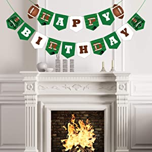 Football Party Decorations, Football Birthday Banner Football Theme String Flags Happy Birthday Bunting Sign for Sport Theme Decoration Football Party Decor