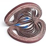 Aiyard 3/8 x 13-Inch Aluminum Oxide Sanding Belts, 40/60/80/120/180/240 Assorted Grits Abrasive File Belts for Air Belt…
